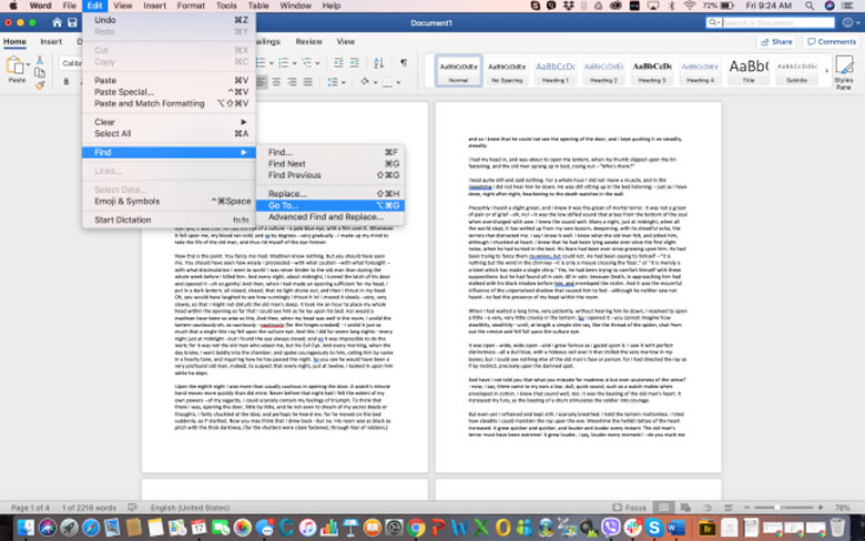 How can you delete a page in WORD on MAC - Step 1