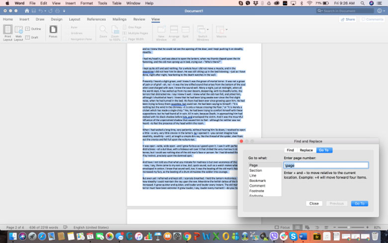 How can you delete a page in WORD on MAC - Step 2