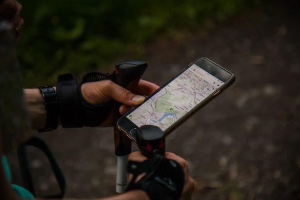 Biker using google maps